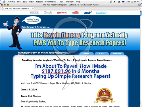 This revolutionary program actually pays you to type research papers!