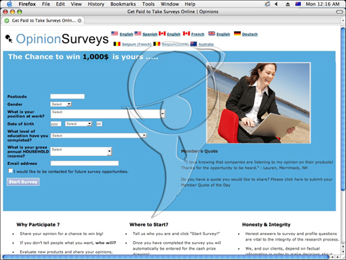 The chance to win thousands is yours .... Opinion surveys.