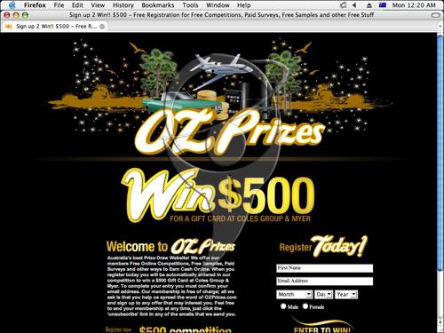 Australia's best Prize Draw Website! OzPrizes