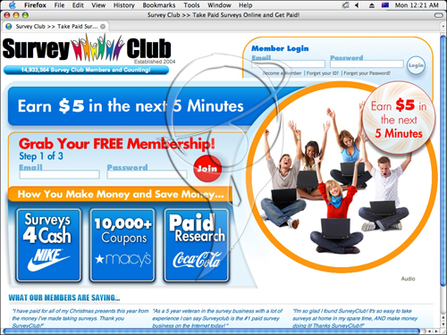 Survey Club. Earn $5 in the next 5 minutes.