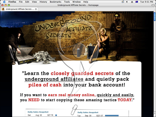 Learn the closely guarded secrets of the underground affiliates and quickly pack piles of cash into your bank account!
