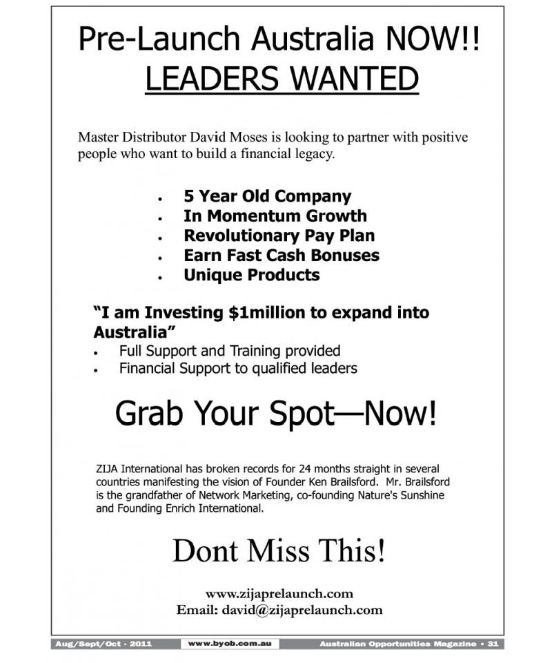 Pre-Launch Australia NOW!! LEADERS WANTED